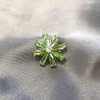 925 Silver Green and Clear CZ Flower Slide Pendant