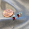 925 Sterling Silver Red Ladybug Post Back Stud Earrings #LWES089