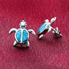Blue Turquoise Gemstone Turtle Stud Earrings