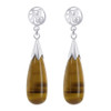 925 Silver Teardrop Natural Tiger Eye Gemstone with Chinese Good Luck Symbol Post Back Drop Earrings