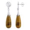 925 Sterling Silver Teardrop Natural Tiger Eye Gemstone with Chinese Good Luck Symbol Post Back Drop Earrings