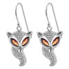 Marquise Garnet and Clear Cubic Zirconia Sterling Silver Fox Earrings