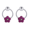 Enamel Flower Design Drop Earrings