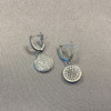 Rhodium Plated Over 925 Sterling Silver 13mm Round with 1mm Clear Cubic Zirconia Dangle Earrings