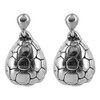 925 Sterling Silver Textured Turtle Shell Post Back Drop Earrings #E059