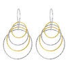 Rhodium Plated Sterling Silver Two tone Dangling Hoops Drop Earrings #AZES019