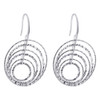 Rhodium Plated Sterling Silver Hollow Round Hoops Drop Earrings #AZES024