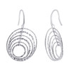 Rhodium Plated Over 925 Sterling Silver Round Hollow Hoops Drop Earrings