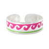 925 Sterling Silver Pink and Green Wave Design Toe Ring