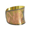 "Elephant & Flower 3 Tone Design Hand Engraved Fashion 1.8"" Cuff Bracelet"