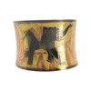 Elephant and Flower Three Tone Design Hand Engraved Fashion Cuff Bracelet