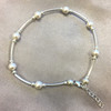 Sterling Silver Swarovski Elements Round White Faux Pearl Ankle Bracelet 9 to 10 inch Adjustable
