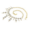 Gold Plated White Pearls and Glass Stones Earrings and link Chain 15 Inch Necklace Set