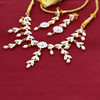 Gold Plated White Pearls and Glass Stones Earrings and link Chain 15 Inch Necklace Set #MNST002