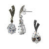 925 Sterling Silver Teardrop Clear Stone Post Back Earrings and Pendant Jewelry Set