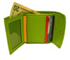 Genuine Lambskin Leather Credit Card Holder Green Color Wallet