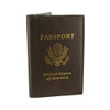 Brown Leather Cover Passport Holder Travel Wallet with Logo