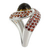 925 Silver Whisky Quartz Orange & Red Sapphire Ring Size 7.5