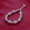 Beads Bicon & Ball shape faceted Crystal Silver Bracelet