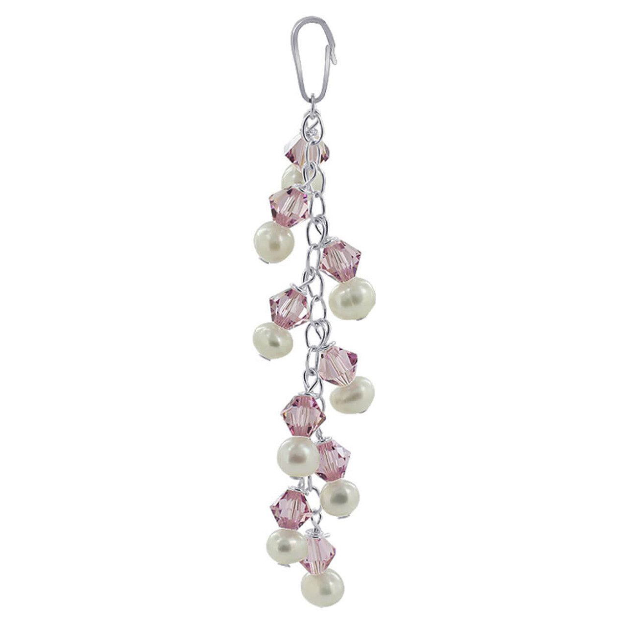 Sterling Silver White Freshwater Pearls with Light Amethyst Color Bicone s Pendant