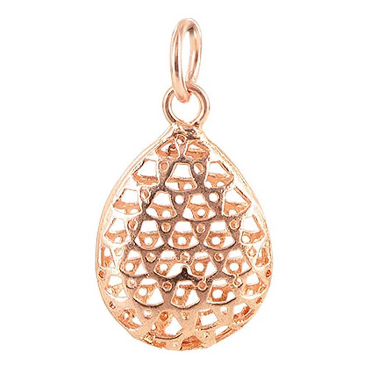Copper Rose 17mm x 22mm Oval Shaped Intricate Polish Finished Dangle Pendant