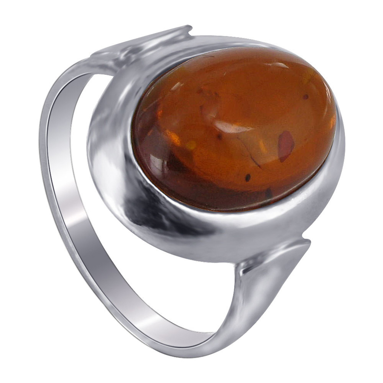 925 Sterling Silver Brown Amber Cabochon Ring
