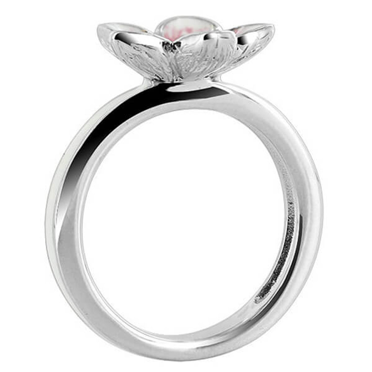 925 Silver Flower with Clear CZ White and Pink Enamel Ring