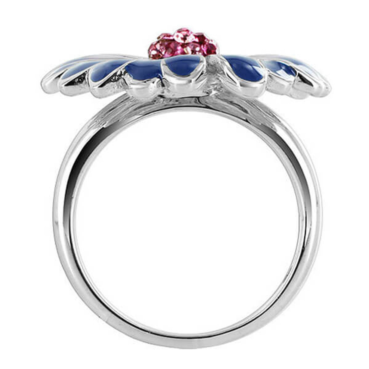 925 Silver Flower with Light Rose CZ with Enamel Ring