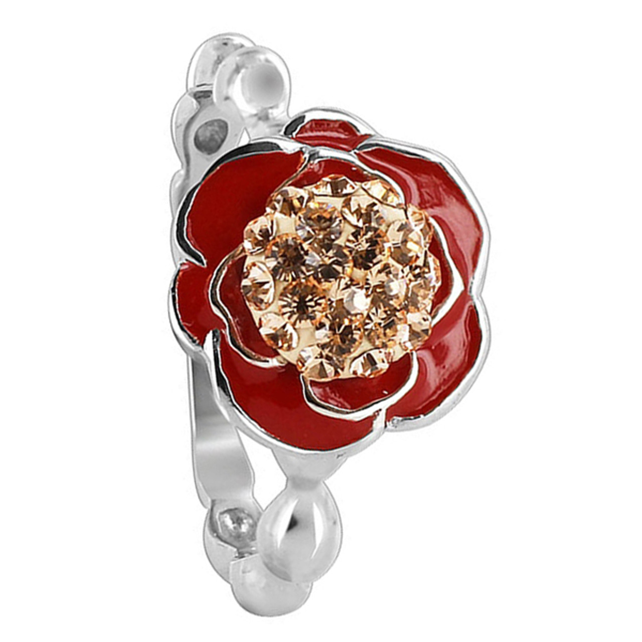 3ee8e5f40 925 Sterling Silver 11mm Rose Design Red Enamel with Gold Quartz Stones Ring  ...