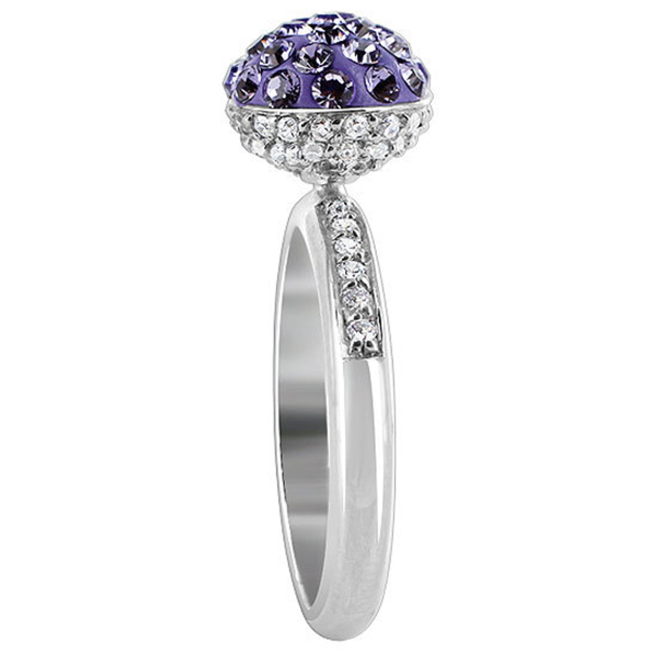 925 Sterling Silver Round Ball Studded with Tanzanite and Clear Stone 3mm Ring