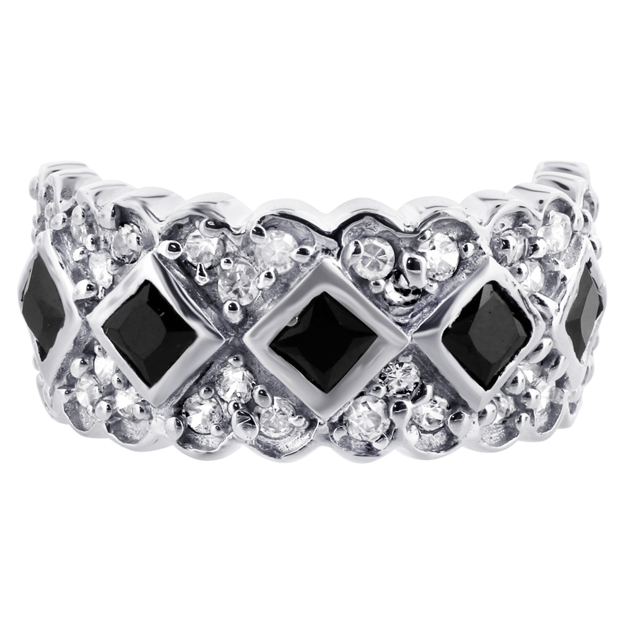 925 Sterling Silver Black and Clear Cubic Zirconia Heart Design Ring