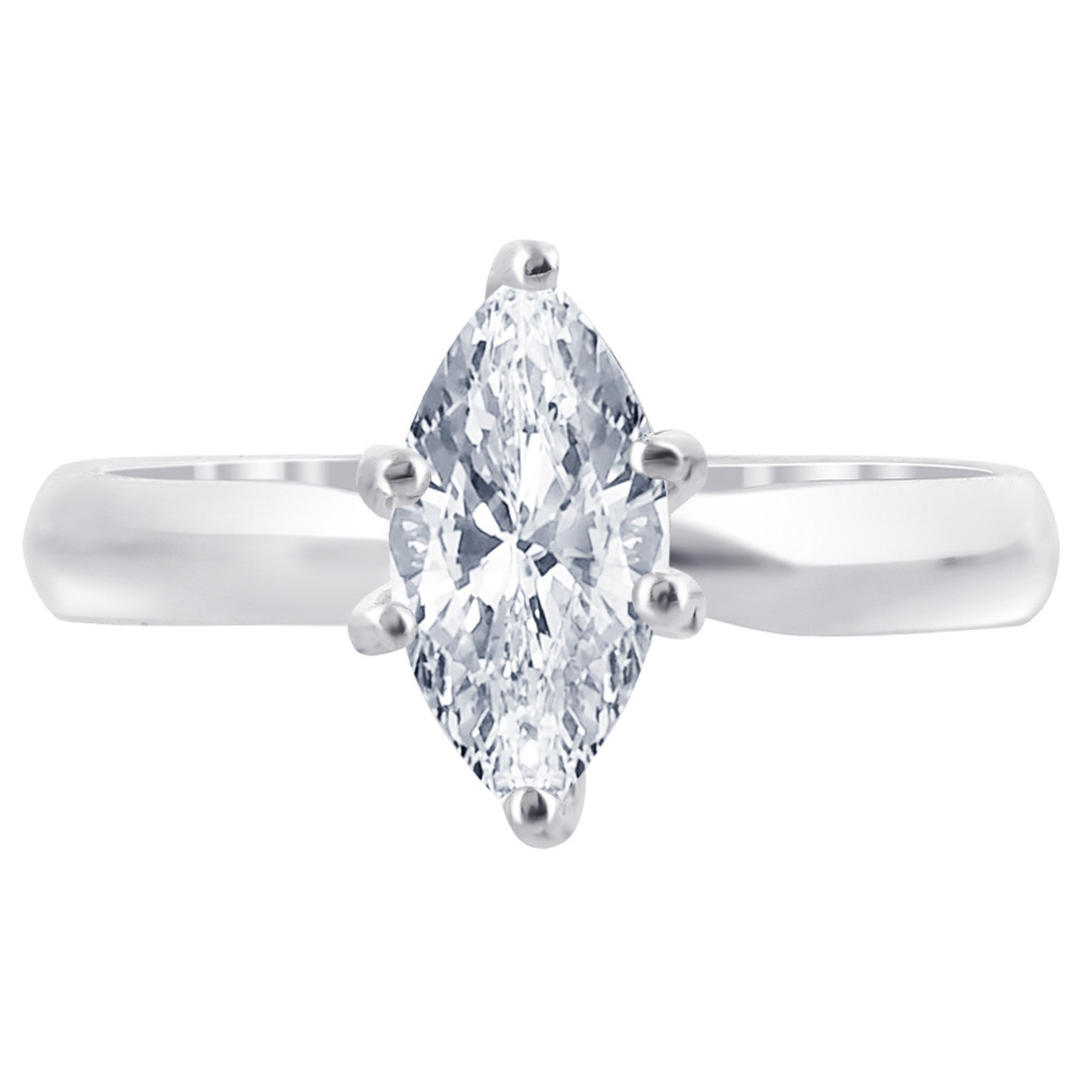 925 Silver Clear CZ Marquise Cut 3mm Solitaire Ring