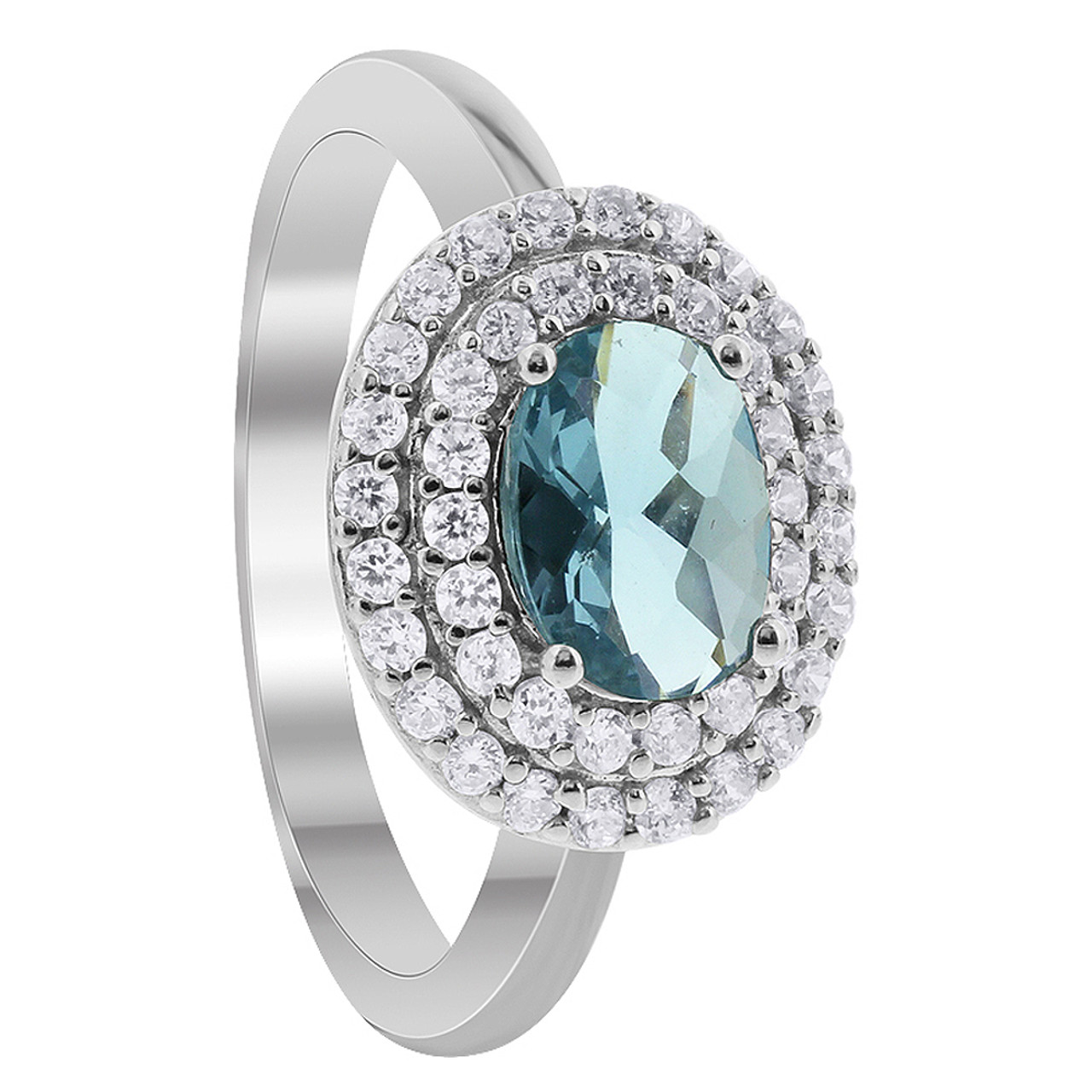 925 Sterling Silver Oval Aquamarine Color Cubic Zirconia Solitaire with Accents Ring