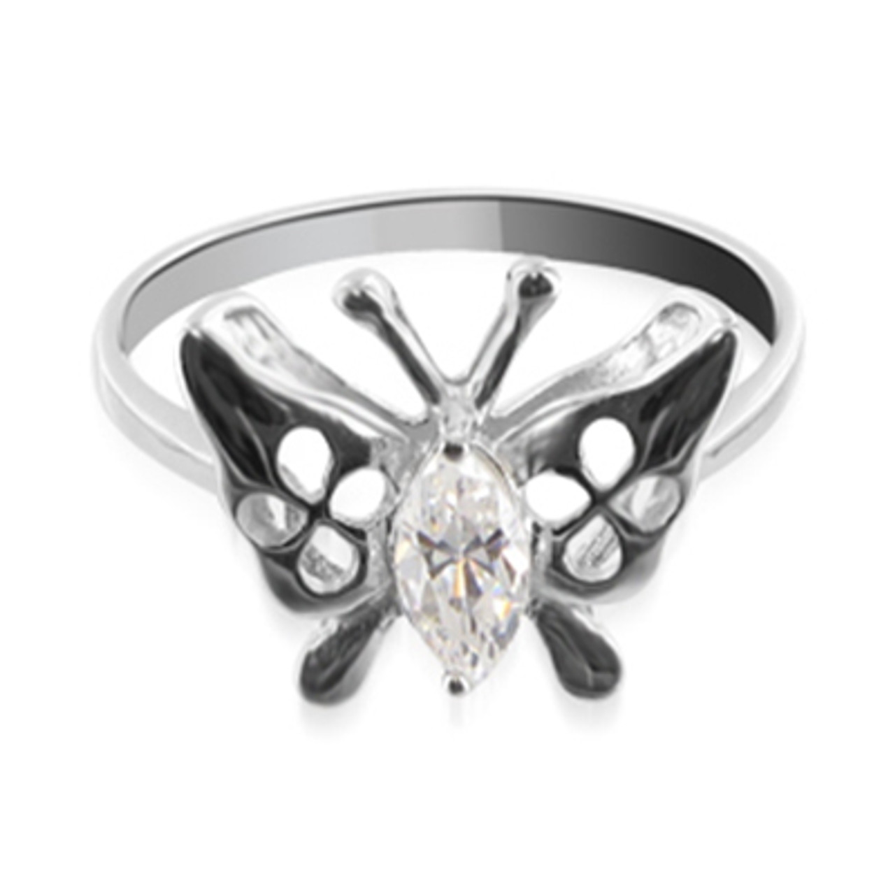 925 Silver CZ Butterfly Design Solitaire Ring