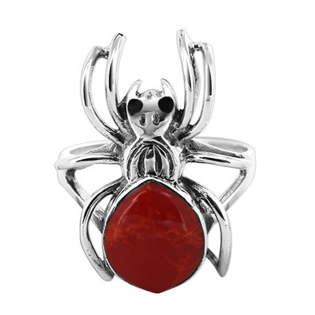 925 Silver Widow Spider with Coral Gemstone 2mm Ring