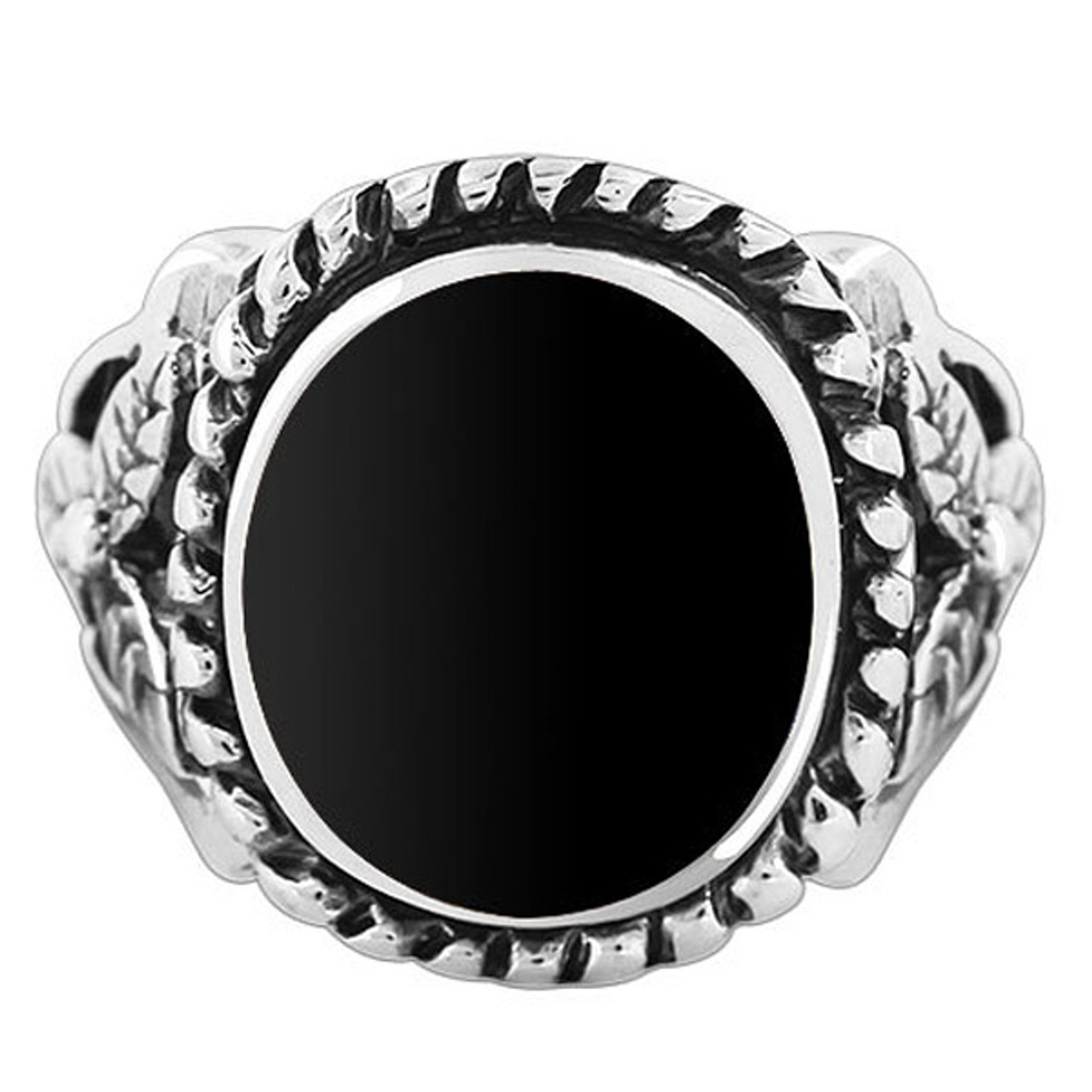 925 Sterling Silver Black Onyx Oval with 16mm Rope Design Ring