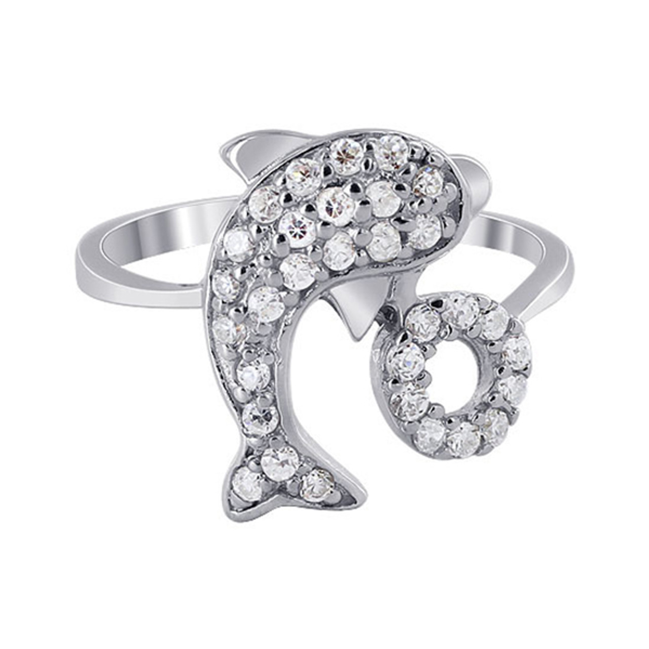 Cubic Zirconia Pave Set Dolphin Hoop Ring