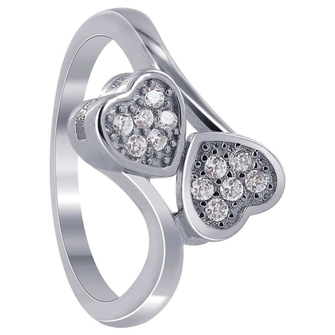 Cubic Zirconia Double Studded Hearts Ring