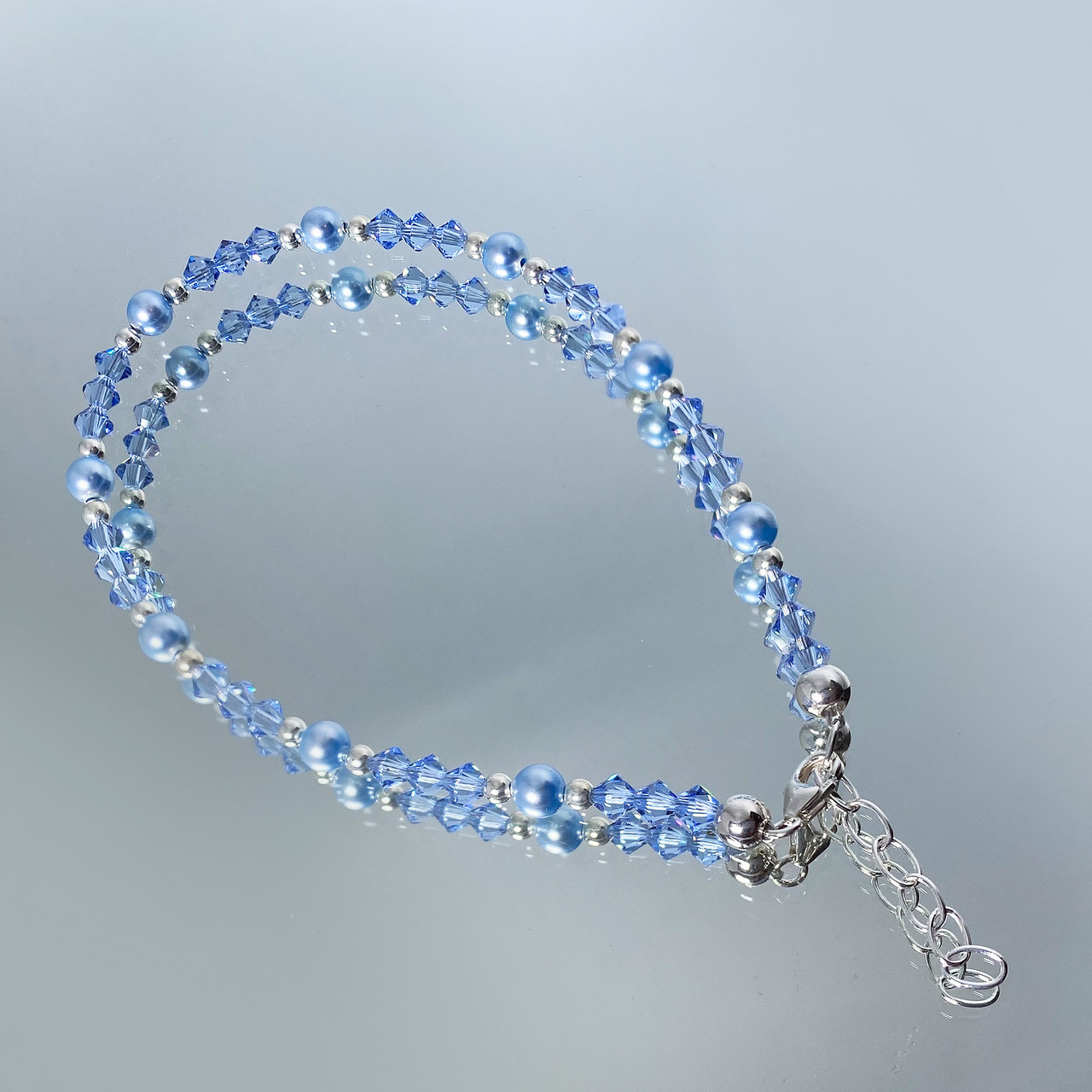 Sterling Silver Pearl And Sapphire Crystal Anklet