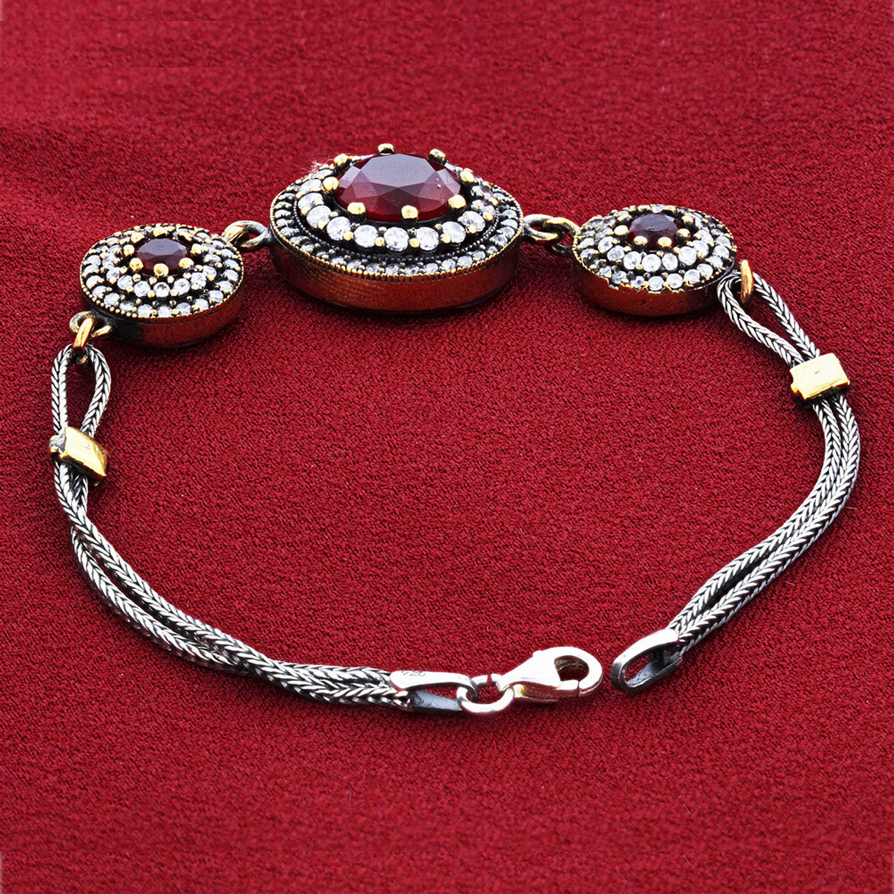 Gold over Sterling Silver Vermeil 12mm Simulated Garnet Glass with CZ Bracelet 7.5 inch