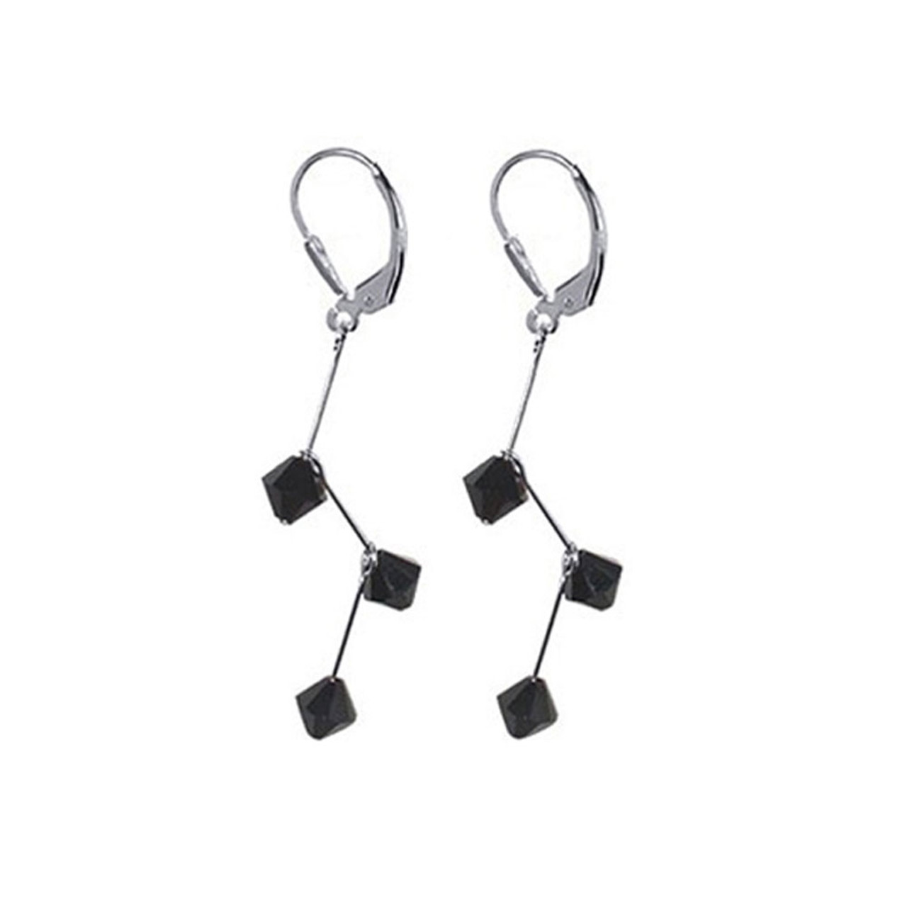 Sterling Silver Made with Swarovski Elements Black Crystal 1.75 inch Handmade Drop Earrings