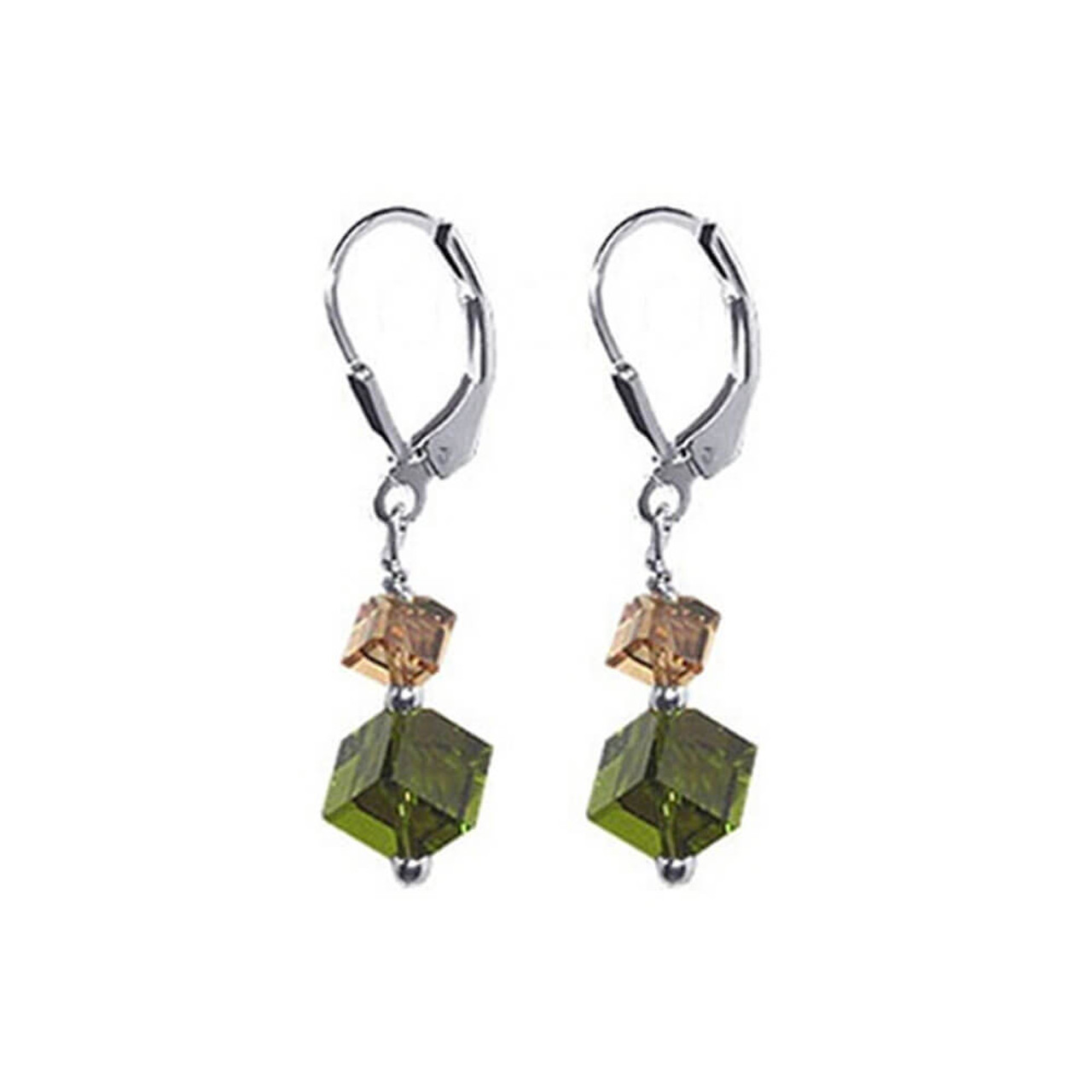 Sterling Silver Made with Swarovski Elements Crystal 1.5 inch Handmade Drop Earrings