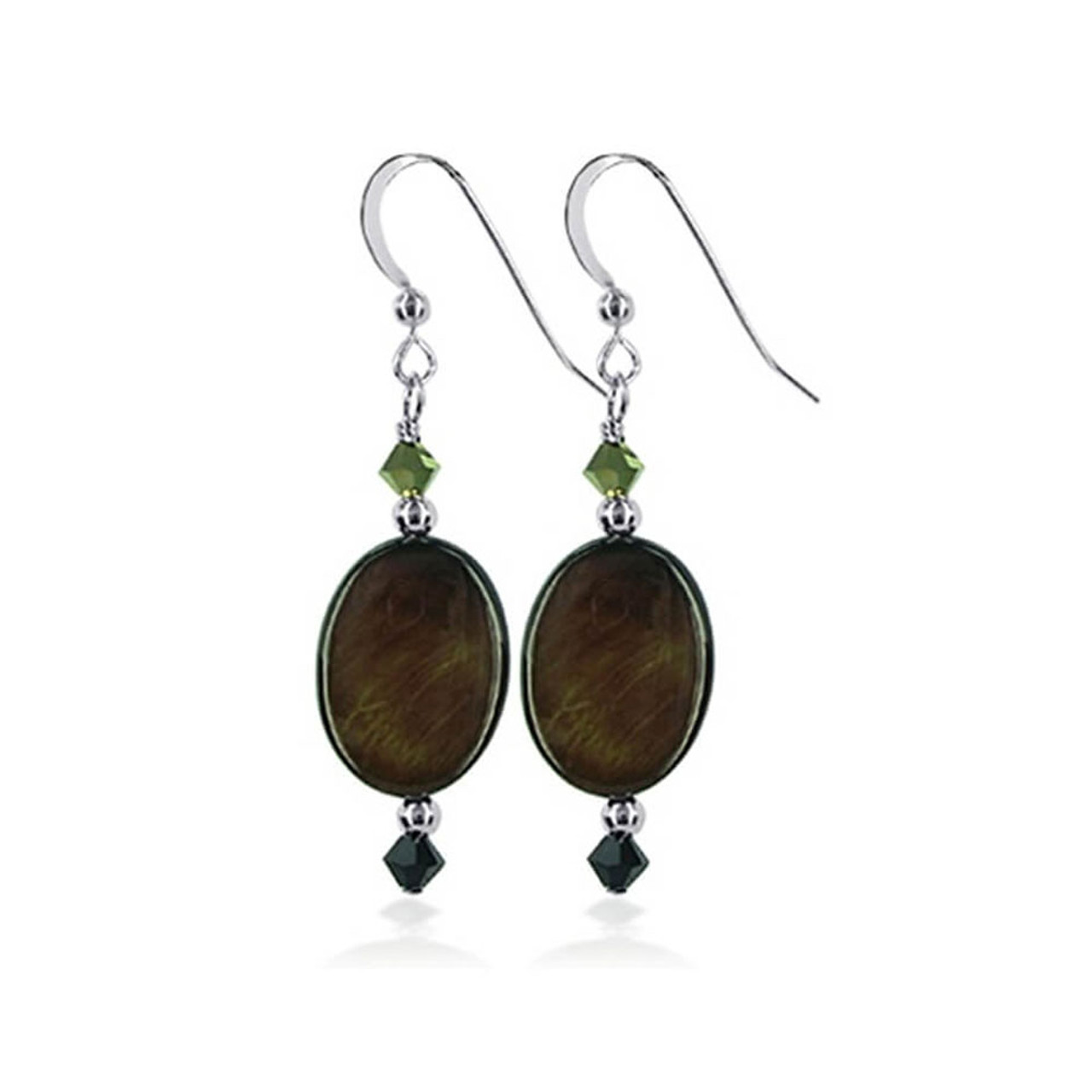 Sterling Silver Oval Mother of Pearl Drop Earrings Made with Swarovski Elements