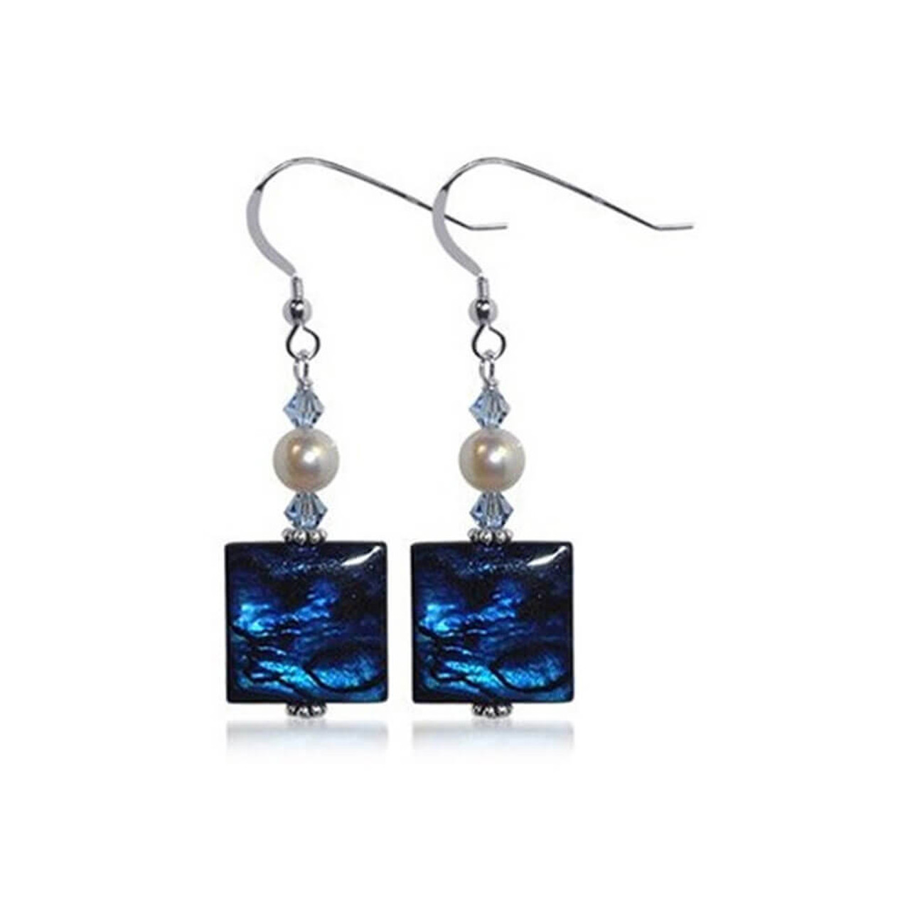 Sterling Silver Assembled Dyed Abalone Drop Earrings Made with Swarovski Elements