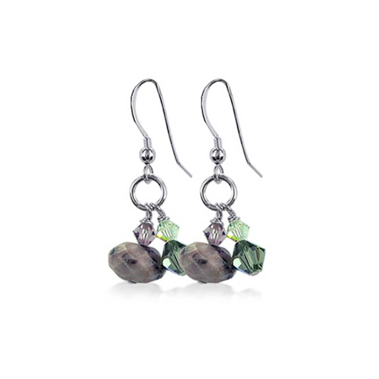 925 Silver Made with Swarovski Crystal and Natural Stone Dangle Earrings