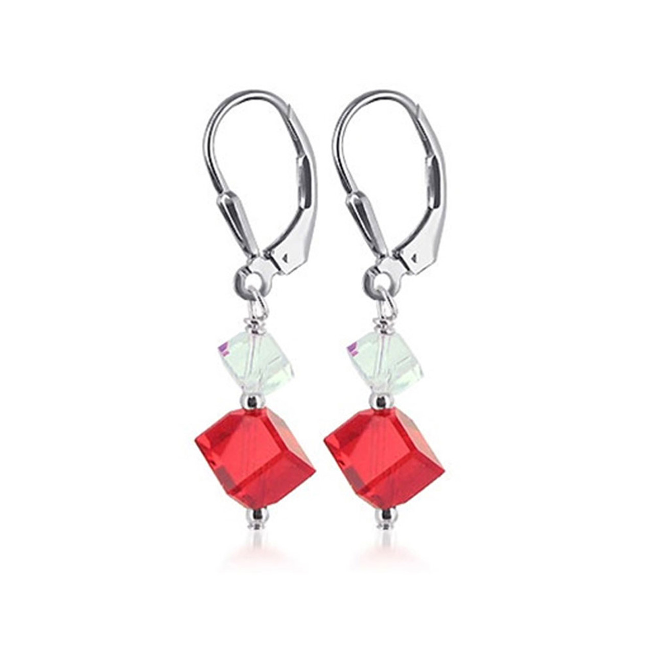 925 Silver Swarovski Red and Clear Crystal Drop Earrings