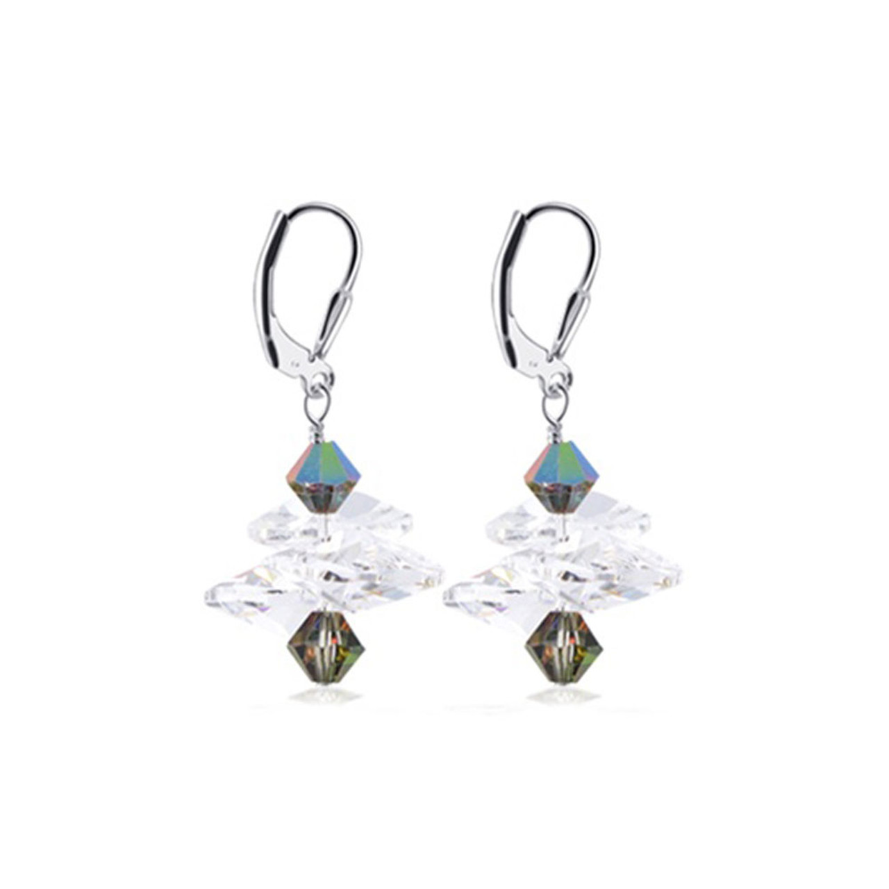925 Silver Made with Swarovski Clear and Light Vitrail Crystal Drop Earrings