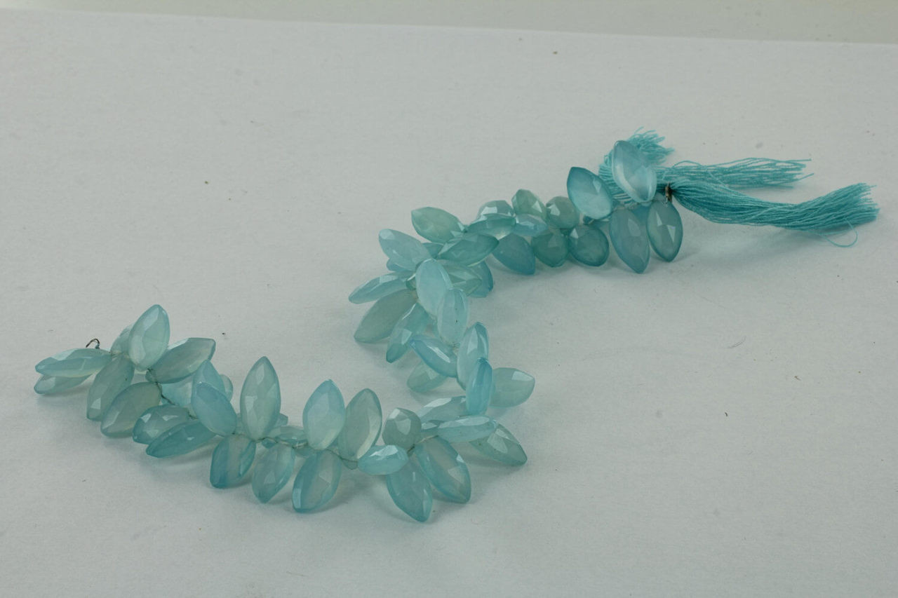 Aqua Blue Chalcedony Marquise Beads Strand 18 inch with 70 beads approximately
