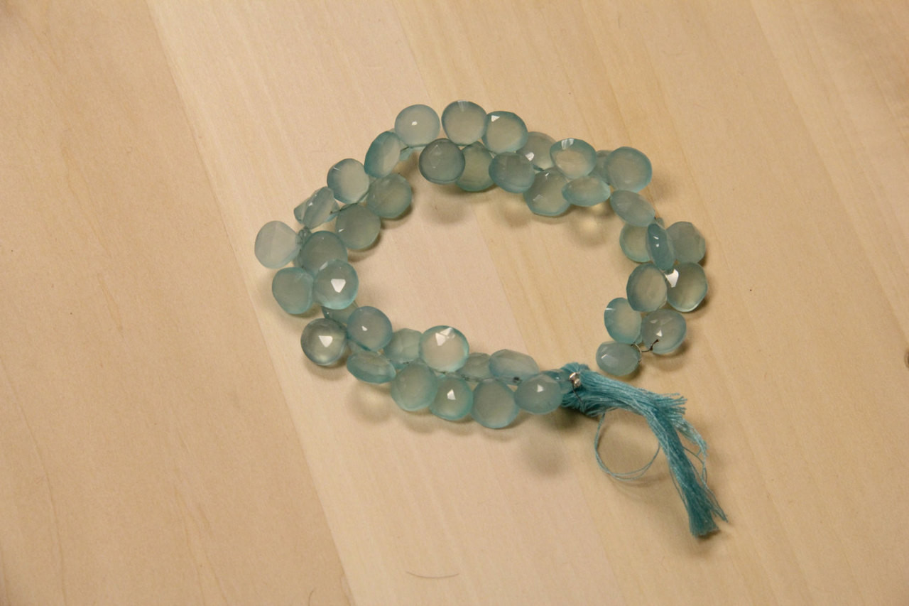 Faceted Aqua Chalcedony Heart Beads for Jewelry Making