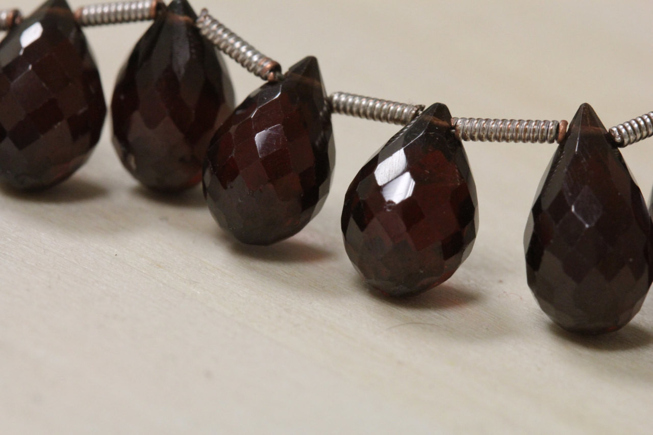 Faceted Garnet Teardrop Beads for Jewelry Making